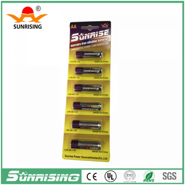 Alkaline LR6 AA 1.5V Battery 6pcs Card